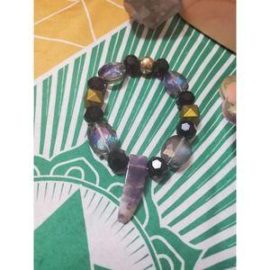 Handmade Amethyst Crystal Beaded Bracelet
